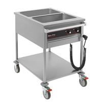 MAX PRO bain marie wagen GN1/1x2-200mm | 2kW | afzonderlijk thermostatisch instelbaar | 850x600x900(h)mm
