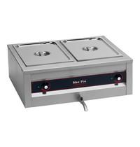 MAX PRO bain marie GN1/1x2-200mm | 2kW  | Met ingebouwd element | 610x710x300(h)mm