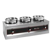 MAX PRO spijzen warmer (cap.3st.) 750W |met roestvrijstalen waterpannen en bain marie potten | 260x760x290(h)mm
