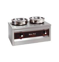 MAX PRO chocolade warmer (cap.2st.) | 500W | met roestvrijstalen waterpannen en bain marie potten | 260x500x290(h)mm