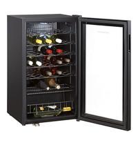 SEVERIN wijnklimaatkast (cap.033st.) zwart | 136W | met LED display + 6 verchroomde flessendrasgers | 480x470x840(h)mm