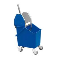 EMGA Dweil/droogwagen blauw kunststof incl mopwringer met metalen duwbeugel 25 liter   450x330x840(h)mm