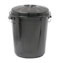 EMGA Afvalvat met afsluitbare deksel zwart kunststof | 70L | Ø 49,5x58,5(h)cm