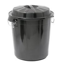 EMGA Afvalvat met afsluitbare deksel zwart kunststof | 50L | Ø45,5x50,5(h)cm