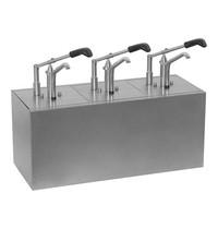 HOVICON Saus/Dressingbar RVS instelbaar tot 30g | Met hefboombediening | 3x GN 1/6-200mm-176x162mm