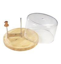 EMGA Kaaskruller houten plank met RVS mes en kunststof afdekkap | Ø22x17cm