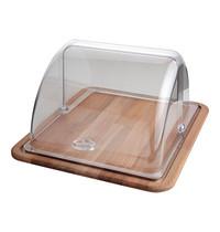 EMGA Serveerplateau hout met polycarbonaat kap 310x370x190(h)mm