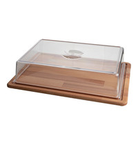 EMGA Serveerplateau hout met polycarbonaat kap 390x290x100(h)mm