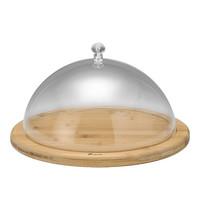 EMGA Serveerplateau hout met polycarbonaat kap Ø30x18(h)cm