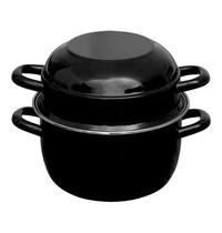 EMGA Mosselpan zwart geëmailleerd met RVS rand Ø12cm
