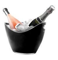 EMGA Wijnkoeler zwart kunststof met transparante rand cap. 2 flessen | 270x200x210(h)mm