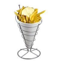 EMGA Serveer frites-zak porselein met verchroomde standaard Ø12x23(h)cm
