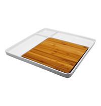 EMGA Serveerschaal porselein met bamboe snijplank 29(l)x29(b)cm