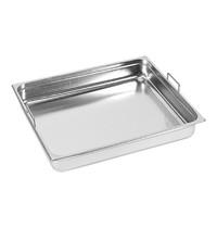 EMGA Gastronorm bak RVS met grepen | 42.8 liter | 2/1GN |  650x530x150(h)mm