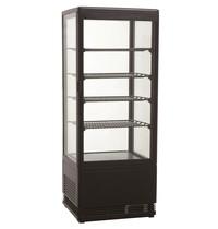 Combisteel Koelvitrine vierkant zwart | 98 liter | Met glas deur |  230V | 428x386x1110(h)mm