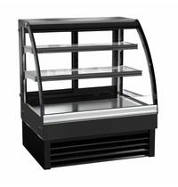 Combisteel Koelvitrine zwart | 175 liter | Gebogen glas | 230V | Bovenkant RVS | 900x680x1200(h)mm