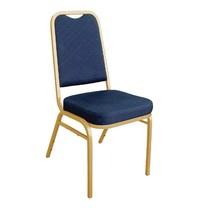 Bolero Banketstoel blauw met vierkante rugleuning | 4 stuks | Zithoogte 46cm | 440x450x895(h)mm