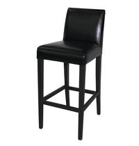 Kunstlederen barkruk zwart | Met rugleuning | Zithoogte 76cm | 440x540x1030(h)mm
