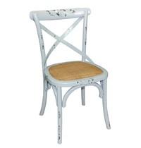 Houten stoel met gekruiste rugleuning | 2 stuks | Antiek blue wash | Zithoogte 47cm | 495x550x890(h)mm