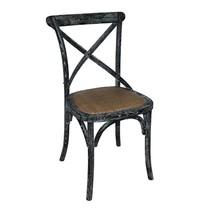 Houten stoel met gekruiste rugleuning | 2 stuks |  Black wash | Zithoogte 47cm | 495x550x890(h)mm