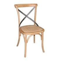 Houten stoel naturel met gekruiste rugleuning | 2 stuks | Zithoogte 47cm | 495x550x890(h)mm