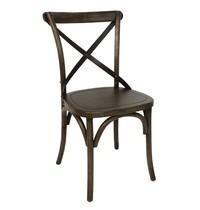 Houten stoel walnoot met gekruiste rugleuning | 2 stuks  | Zithoogte 47 cm | 495x550x890(h)mm