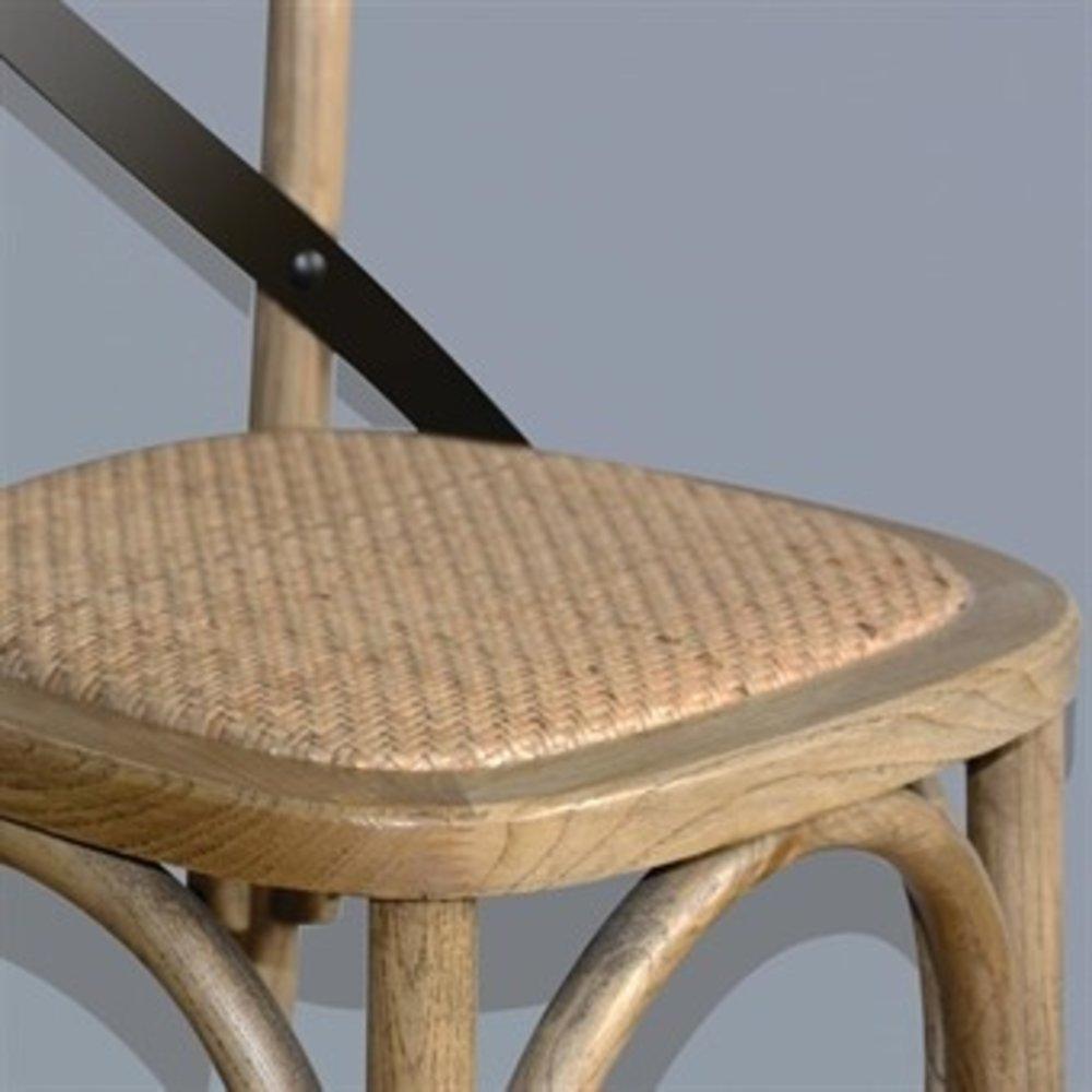 Houten barkruk naturel met gekruiste rugleuning | Zithoogte 75 cm | 450x470x1100(h)mm