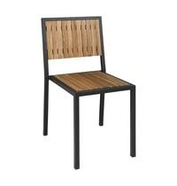 Bolero Stalen en acaciahouten stoel zonder armleuning | 4 stuks | Zithoogte 45cm | 450x530x860(h)mm
