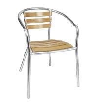 Bolero Aluminium essenhout stoel met armleuning | 4 stuks | Zithoogte 45 ccm | 555x530x730(h)mm