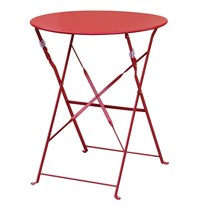 Bolero Ronde stalen opklapbare tafel rood 59,5cm | 71(h) x 59,5(Ø)cm