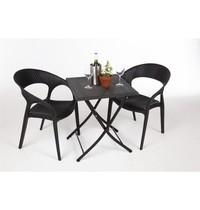 Vierkante opklapbare PE rotan tafel 60cm | 600x600x710(h)mm