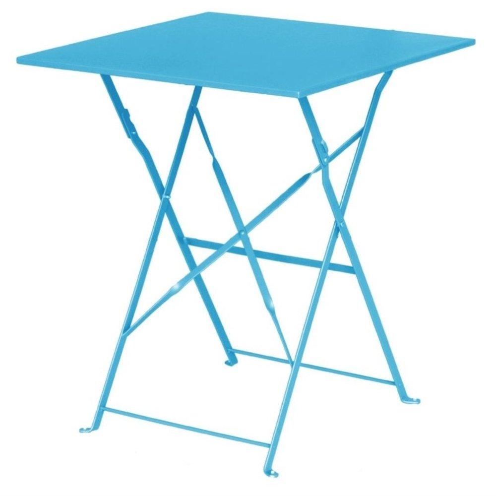 Vierkante opklapbare stalen tafel turquoise 60cm   600x600x710(h)mm