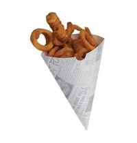 Colpac Biologisch afbreekbare friteszakken met kranten print | 1000 stuk | 18,3(h) x 15,1(Ø)cm