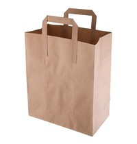 Fiesta Green Bruine grote papieren tassen recyclebaar | 250 stuks | 255x140x305(h)mm