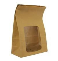 Vegware Composteerbare gevoerde kraft sandwichzakken met kijkvenster | 250 stuks | 152x76x230(h)mm