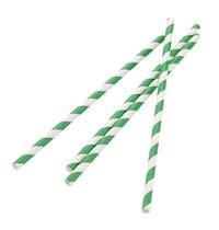 Fiesta Green Composteerbare papieren rietjes groen-wit gestreept   250 stuks   21(l) x 0,6(Ø)cm