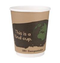 Fiesta Green Composteerbare dubbelwandige koffiebekers   25 stuks   9,1(h) x 8(Ø)cm