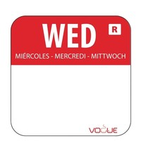 Vogue Voedseletiketten woensdag kleurcode rood | 1000 stuks | 2,4x2,4cm