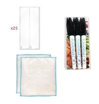 PuraCycle Herbruikbare blanco flesetiketten set | 25 stickers, 3 markers en 2 poetsdoeken