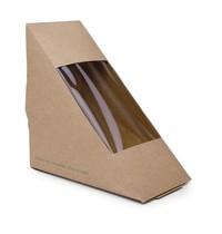 Vegware Composteerbare kraft sandwich boxen | 500 stuks | 72x123x123(h)mm