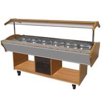 Combisteel Gekoeld Buffet GN 6x 1/1 | Statich | 230V | Met led verlichting  | 2200x900x850/1350(h)mm