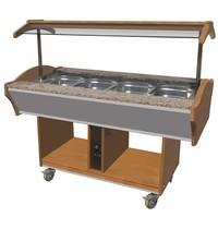 CombiSteel Warm Buffet GN 4x 1/1 | 230V | Met led verlichting | 1550x900x850/1350(h)mm