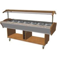 CombiSteel Warm Buffet GN 6x 1/1 | 230V | | 4,5kW |  Met led verlichting | 2200x900x850/1350(h)mm