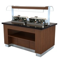 Combisteel Warm Buffet Wenge 1600 |  2x 1/1 chafing dish |  230V | 1,5kW | 1600x1000x900/1450(h)mm