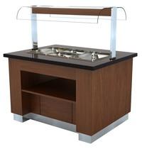 Combisteel Warm Buffet Wenge 1300 | GN 3x 1/1 | 230V | 2,25kW | 1300x1000x900/1450(h)mm