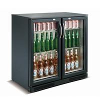 CombiSteel Barkoeler Zwart 198L | 2 glas deuren | 230V | Geforceerd | 900x500x900(h)mm