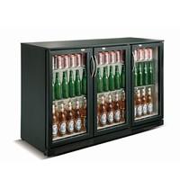 CombiSteel Barkoeler Zwart 298L | 3 glas deuren | 230V | Geforceerd | 1335x500x900(h)mm