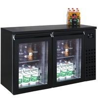 CombiSteel Barkoelder Zwart | 320L | 2 glasdeuren | 230V  | Geforceerd | 1380x550x950(h)mm