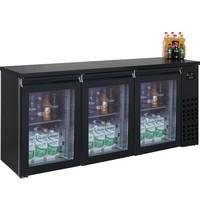 CombiSteel Barkoeler Zwart | 500L | 3 glasdeuren | 230V | Geforceerd | 1940x550x950(h)mm