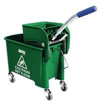 Jantex Rol emmer en mop groen | 20L | Opvangbak en rooster | 350x280x480(h)mm